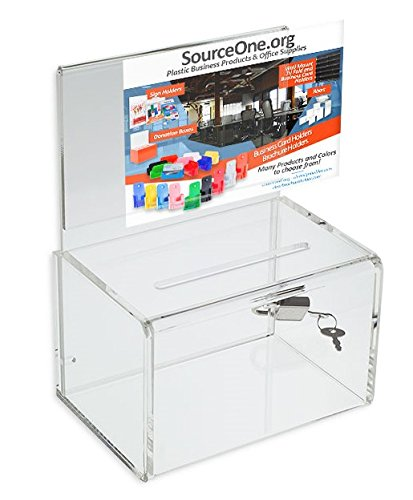 Source One Small 5-Inch Wide Deluxe Oblong Donation Box with Ad Frame & Free Lock (Plastic Suggestion Box)