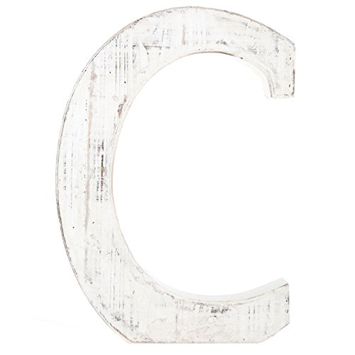 Distressed White Alphabet Wall Décor/Free Standing Monogram Letter C