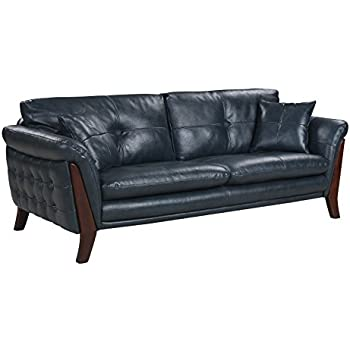 Mid Century Modern Real Leather Tufted Living Room Sofa (Midnight Blue)