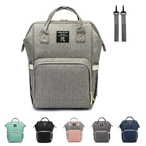 Diaper bag backpack, Nanrui Industry Multi-Function diaper backpack diaper Bags for Baby Girl (Light Grey)