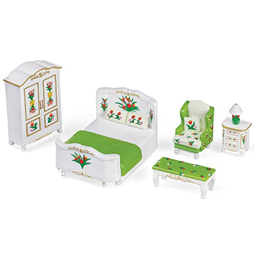 Collections Etc Miniature Bedroom Furniture Figurine Set featuring Spring Tulips ()