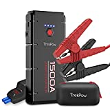 Upgraded Trekpow G22 1500A Peak Car Jump Starter-12V Battery Booster Portable Jumper Box(up to 8.0L Gasoline/6.5L Diesel Engine)with Smart Jumper Cable,Quick Charge 3.0,Type-C,16.8V/10A DC,Flashlight