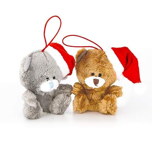 Plushland Christmas Qbear - Stuffed Animal - Holiday Toys for Xmas (Ornament Set) (Teddy Bear Car Ornaments)
