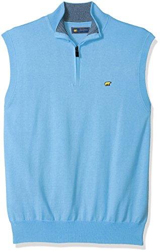 Golf Vest - Jack Nicklaus Men's Textured Solid Sleeveless 1/4-Zip Sweater Vest, Little Boy Blue, L