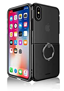 Apple iPhone X Xundo Waltz Ring Series Back Case Cover - Black & Clear