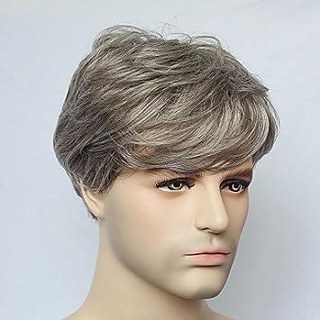 OOFAY JF® sin tapa corto peluca de pelo recto gris sintético para hombre de la