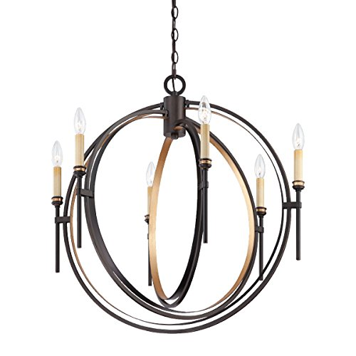 (Eurofase 25647 Infinity 6-Light Chandelier, Oil Rubbed Bronze/Gold Leaf)