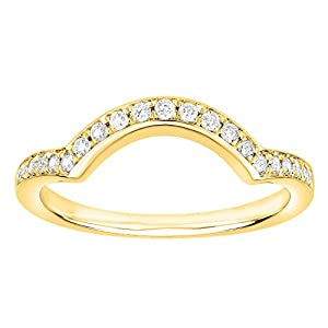 1/5 Carat (ctw) 10K Gold (I-J) (I2-I3) Diamond Ladies Anniversary Wedding Stackable Band Guard Ring (yellow-gold, 9.5)