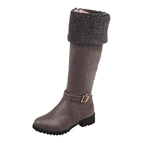 Chaussures Mee Longues Fausse Fourrure Des Femmes Mi-talon Des Bottes Gris