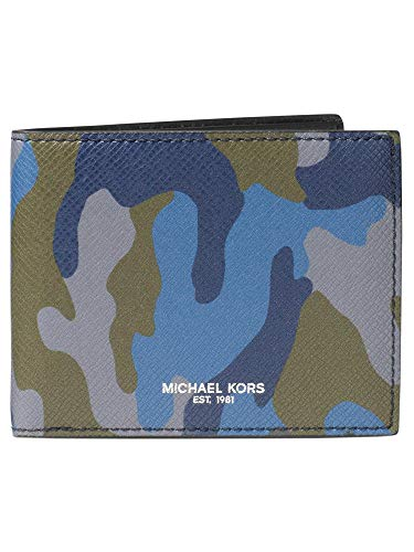 Michael Kors Men`s Harrison Camouflage Billfold Wallet (Ocean(2404)/Silver, One Size) ()