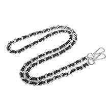 MagiDeal 120cm Metal + Leather Cross Body Bag Chain Strap Purse Handbag Shoulder Bag Chain Replacement - Silver+Black