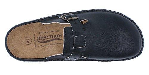 Algemare Herrenclog Pantolette Nappaleder Wechselfußbett Sani-Pur Clog 8140_0101, Größe:41