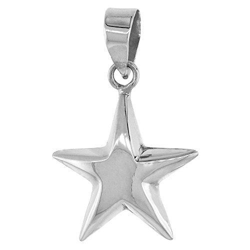 (Sterling Silver Puffed Star Pendant Small, 5/8 inch wide )