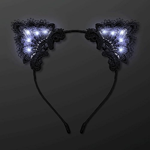 Black Lace Kitty Ear Headband - LED Light Up Costume Cat Ears