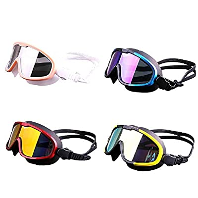 Ladeyi Anti Fog Swimming Goggles No Leaking Outdoor Swimming Goggles Hd Waterproof and Fog-Proof Swimming Goggles Large Frame Silicone Electroplated Goggles (Plastic Box)