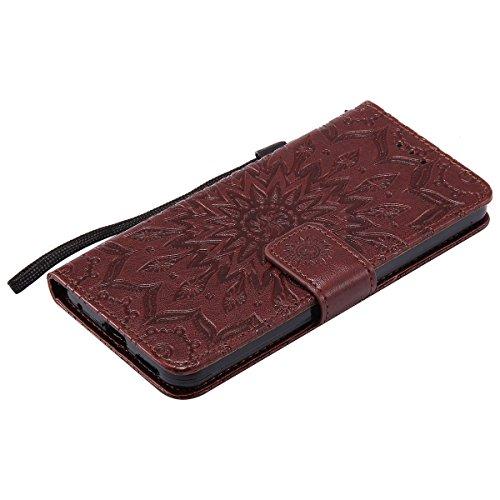 Funda LG G6,SainCat Funda de cuero sintético tipo billetera con correa de cordón de Suave PU Carcasa Con Tapa y Cartera,Correa de mano,Soporte Plegable,Ranuras para Tarjetas y Billetera Funda de Flip  Marrón