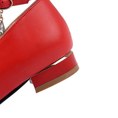 Balamasa Dames Metalen Ornament Bezaaid Strass Metaal Gespen Microfiber Pumps-schoenen Rood