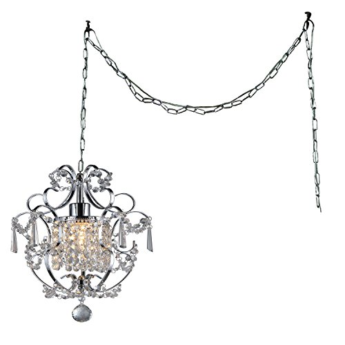 Whse of Tiffany RL4025 SWAG Cynthia 1-Light Crystal 11' Chrome Swag Lamp