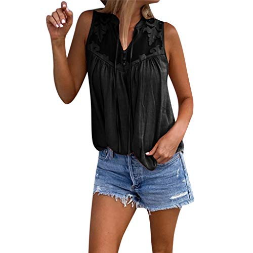 CMrtew Tops Womens Fahsion Chiffon Stitching Lace V-Neck Sleeveless Shirt Tops Blouse Solid Print Sexy Black -