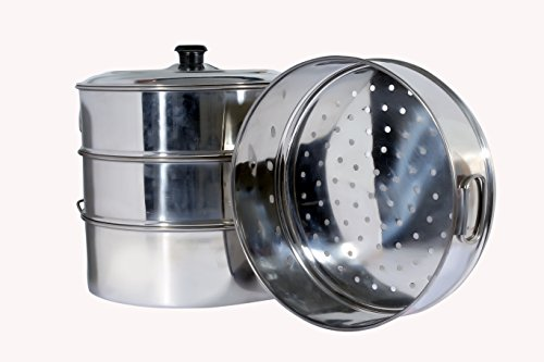 Stainless steel chef catering Tamale steamer cooker 3 strainer 1 bowl set boiled food 11 Inch or 28 cm Edge to edge diameter each strainer by Zmatoo