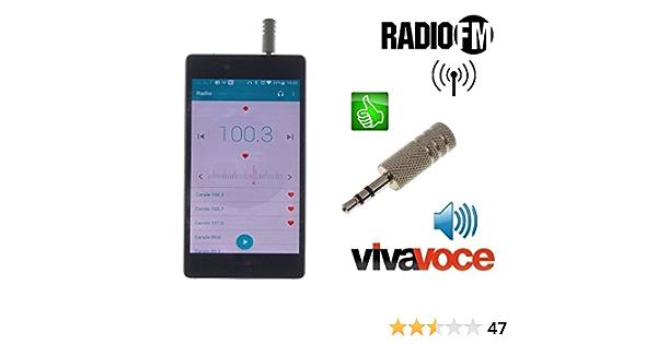 Metal antjack Antena Radio FM simula auricular Viva Voz para Smartphone Móviles Jack 3,5 mm Metal cromado