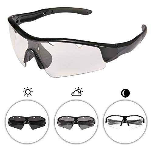 Photochromic Polarized Sports Sunglasses for Men and Women Cycling UV Eye Protection Windproof Glasses with 3 Lens for Outdoor Golf Running Driving Hiking Shooting Fishing Biking Black