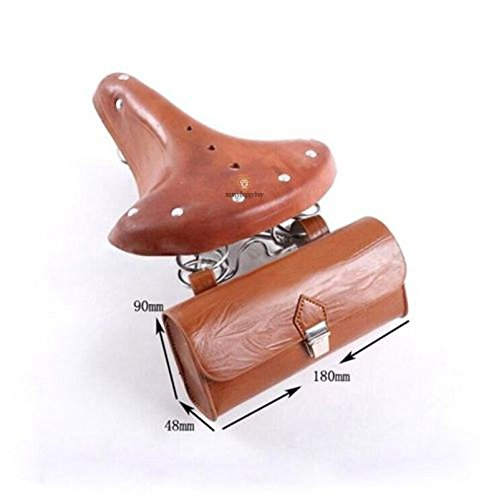 (Gazelle Trading Vintage Classic Comfort Leather Touring Low Rider Bicycle Bike Cycling Saddle Seat Coffee With a cute back bag)