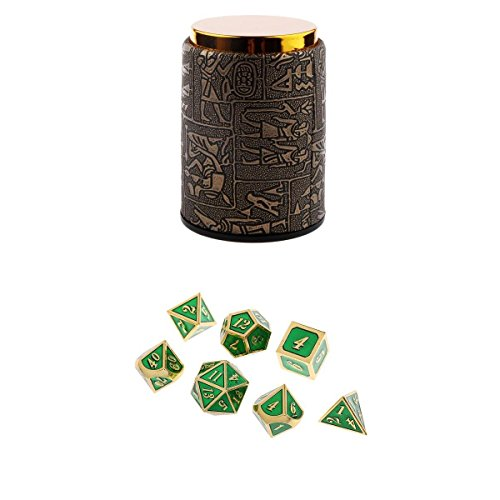 Dolity 7X Metal Polyhedral Dice For Dungeons And Dragons Board Games Accessory+Dice Cup #B by Dolity