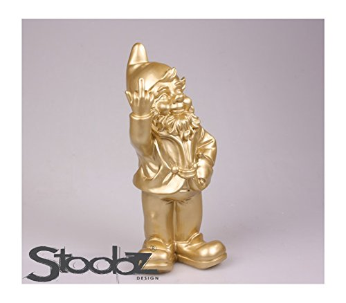 Rude Naughty Garden Gnome Giving the Finger Salute NIB – Made in Netherlands (Gold)