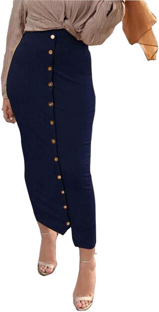 ShiFan Faldas con Botones Mujeres Ajustadas Cintura Alta Falda ...