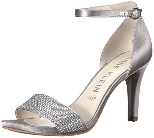 Anne Klein Women's Odree Ankle Strap Evening Sandal Heeled, Silver Satin, 8.5 M US ()