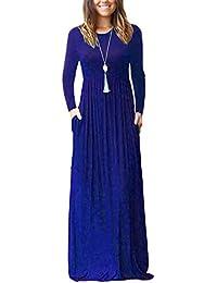 Women Long Sleeve Loose Plain Maxi Dresses Casual Long...