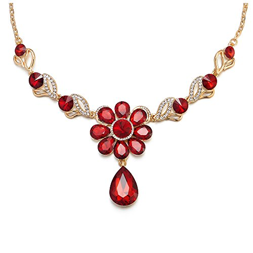 iMECTALII Red Crystal Rhinestone Petal Flower Teardrop Pendant Statement Necklace Gold Chain Bridal Party Dress