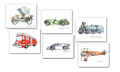 Fire engine car Train Airplane prints Boy nursery (English Country Prints Wallpaper)