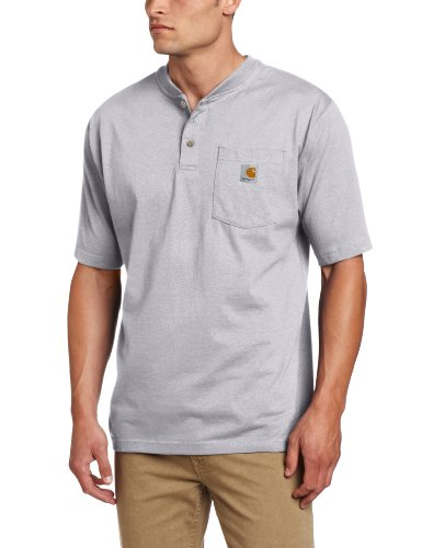 Carhartt Men's Workwear Pocket Henley Shirt, Heather Gray, ()