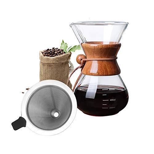 Bestcool Cafetera con filtro de acero inoxidable, 400 ml con filtro de acero inoxidable, jarra de vidrio borosilicato…