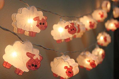 Night Lights Sheep Lamp Hanging Lights for Children Bedroom Decoration 20 Lights/set by Thai Docored