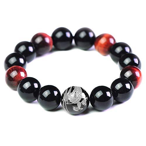 Merdia Men's Tiger Eye Stone Stretch Bracelet with Dragon King Pattern Bead(14mm Silver)