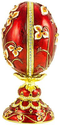 Traditions of Faberge Duck Egg Russian Double Cross with Wooden Egg Blue with Swarovski Cristals 15cm/5.9