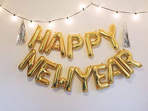 Outgeek Happy New Year Balloon, Foil Balloon Mylar Balloon Letter Balloons for New Year Decoration -