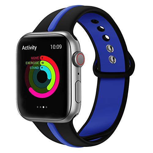 WHLIHUSU Thin Blue Line Band Compatible with Apple Watch 38mm 40mm, Soft Silicone Sport Strap Replacement Bands Compatible with Apple Watch iWatch Wristbands Series 4 3 2 1 Nike+ (M/L,Black & Blue) ()
