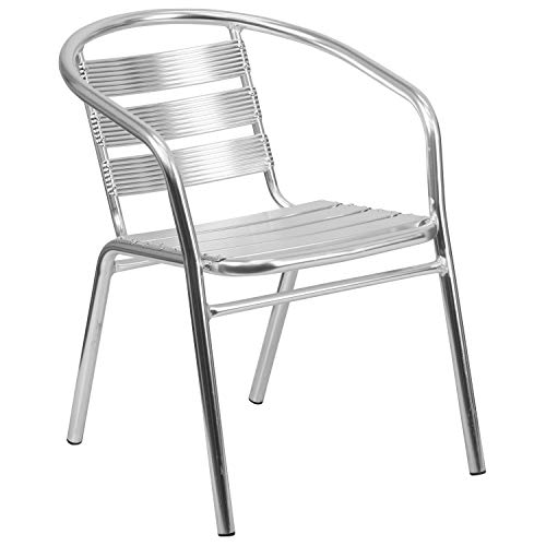 Flash Furniture Heavy Duty Commercial Aluminum Indoor-Outdoor Restaurant Stack Chair with Triple Slat Back