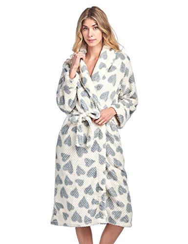 Casual Nights Women's Heart Long Sleeve Mini Popcorn Fleece Plush Robe - Grey - Small - Heart Fleece Robe