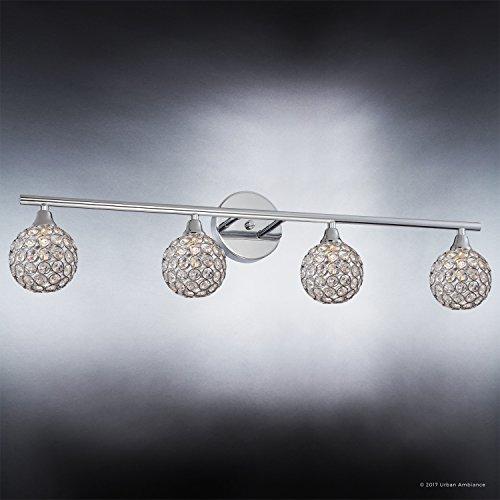 Luxury Crystal Globe LED Bathroom Vanity Light, Large Size: 8''H x 32.5''W, with Modern Style Elements, Polished Chrome Finish and Crystal Studded Shades, G9 LED Technology, UQL2632 by Urban Ambiance by Urban Ambiance (Image #2)