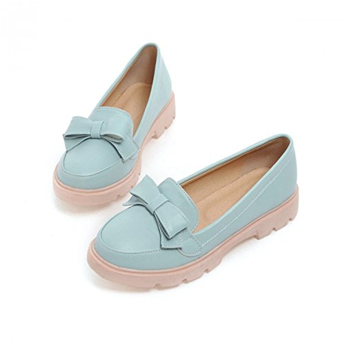 Women's Round Toe Flat Loafers Sweet Casual Shoes with Bow Blue - 2