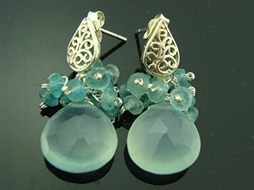 Apatite Chalcedony Earrings - Aqua Blue Chalcedony and Apatite Cluster 925 Sterling Silver Filigree Post Earrings