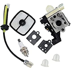 HURI Carburetor with Gasket Air Filter Fuel Line Kit for Echo SRM-225 SRM-225i SRM-225U SRM-225SB A021001690 A021001691 A021001692