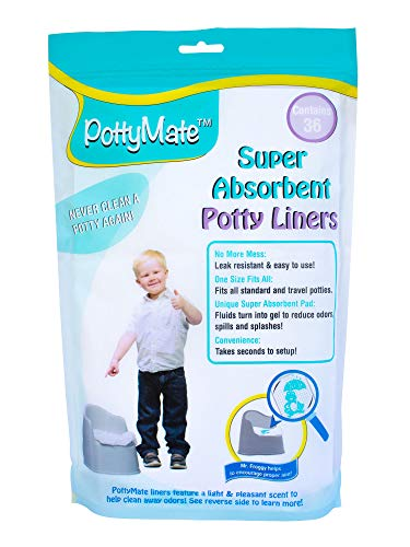 - PottyMate - Potty Liners with Super Absorbent Pad, Pack of 36 Universal Size Liners - with a Target to Encourage Proper aim - Light Scent - Fits All Size & Brand Potties
