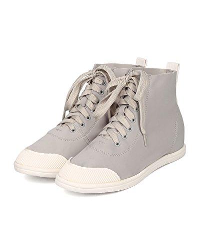 Liliana Kvinnor Elastan Hög Top Sneaker - Casual, Skola, Street Fashion - Snörning Sneaker - Ge01 Med Ljusgrå