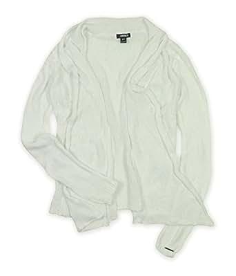Ecko Unltd. Womens Solid Color Mesh Drape Knit Sweater blchwhite XS
